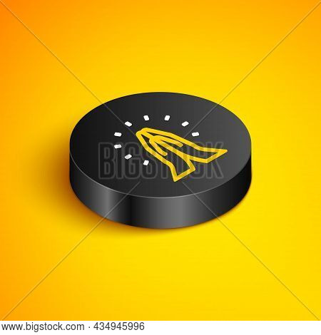 Isometric Line Hands In Praying Position Icon Isolated On Yellow Background. Prayer To God With Fait