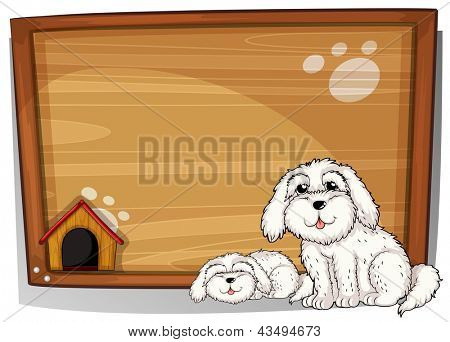 Illustration of two dogs in front of a wooden board on a white background