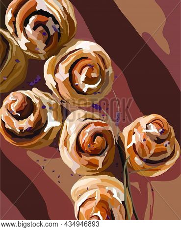 Appetizing Cinnabons And Lavender Flowers. Vector Fashion Illustration