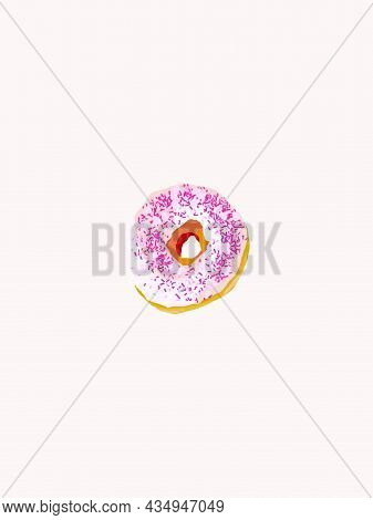 Appetizing Donut In White Glaze And Pink Sprinkling