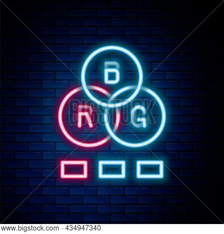 Glowing Neon Line Rgb Color Mixing Icon Isolated On Brick Wall Background. Colorful Outline Concept.