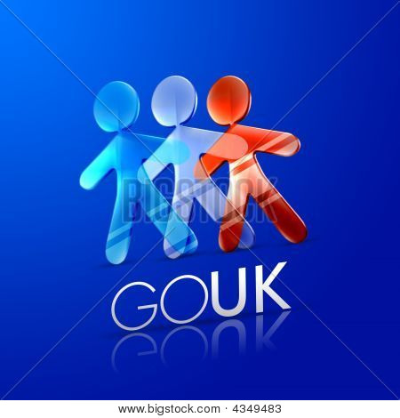 3d illustrated men representing the UK flag with the phrase go uk on a modern font over an intense blue background. poster