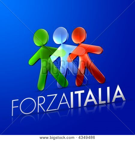 3d illustrated men representing the italian flag with the frase forza italia on a modern font over an intense blue background. poster