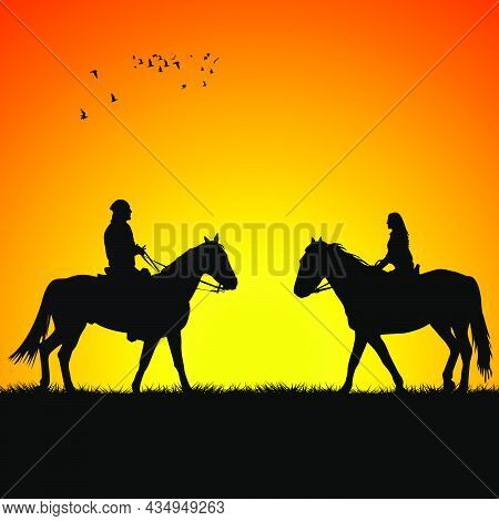 Silhouette Of Two Horse Riders On Sunrise