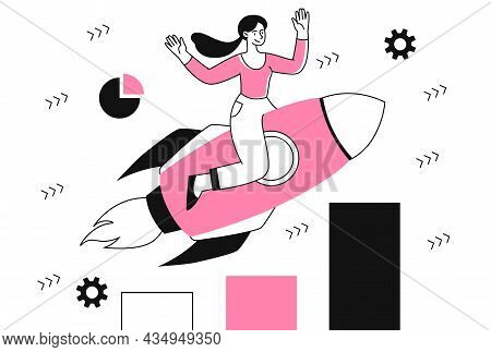Business Motivation Concept. Woman Sits On Rocket And Flies To Success. Ambitious Female Character E