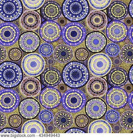 Mauve And Yellow Dots Flowers Seamless Pattern