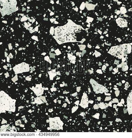 Terrazzo Seamless Pattern. Texture In Venetian Style, Composed Of Natural Stone, Granite, Quartz, Ma