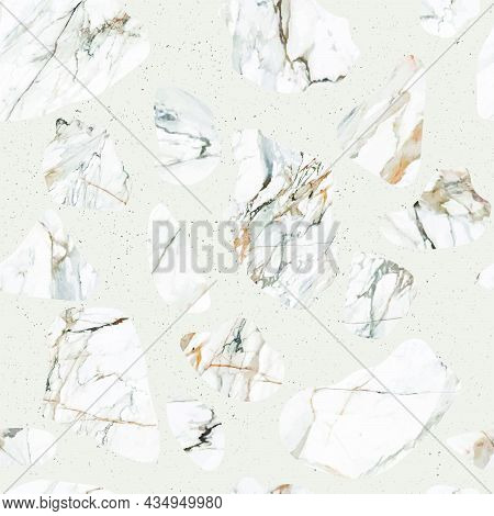 Terrazzo Marble Flooring Seamless Pattern. Texture Of A Classic Italian Type Of Floor In Venetian St