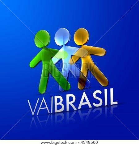 Illustrated Men Representing Brazil