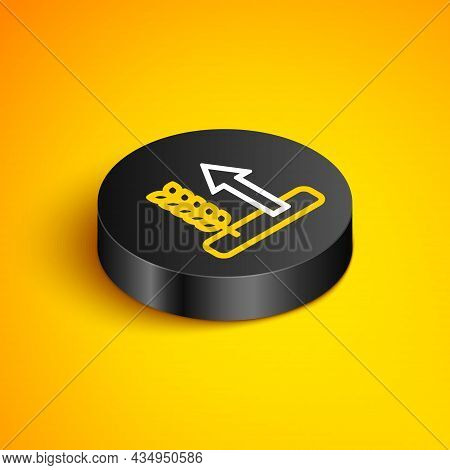 Isometric Line Cereals Set With Rice, Wheat, Corn, Oats, Rye, Barley Icon Isolated On Yellow Backgro