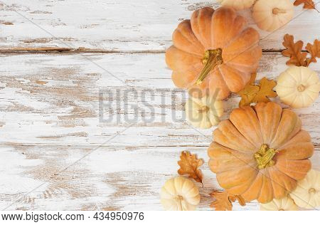 Autumn Side Border With Frosty Orange Pumpkins On A Rustic White Wood Background. Top View With Copy