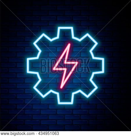 Glowing Neon Line Gear And Lightning Icon Isolated On Brick Wall Background. Electric Power. Lightni
