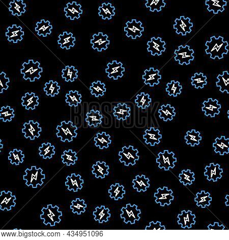 Line Gear And Lightning Icon Isolated Seamless Pattern On Black Background. Electric Power. Lightnin