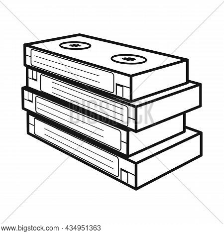 Vector Illustration Of Cassette And Videotape Symbol. Web Element Of Cassette And Stack Stock Vector