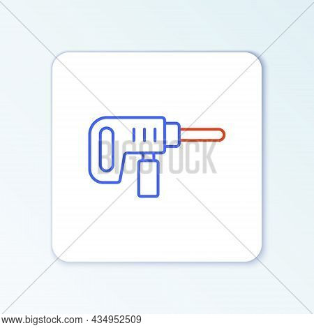 Line Electric Drill Machine Icon Isolated On White Background. Repair Tool. Colorful Outline Concept