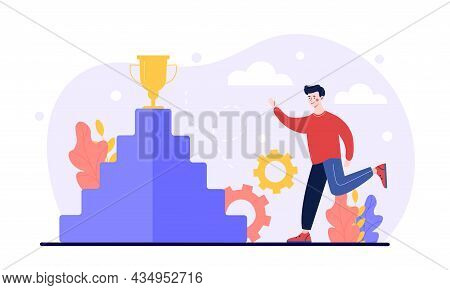 Young Male Character Is Trying To Climb Career Ladder As Up Direction For Work Rise Achievement. Suc