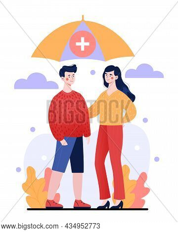 Young Male And Female Characters Standing Outdoors Together Under Umbrella. Concept Of Life Insuranc