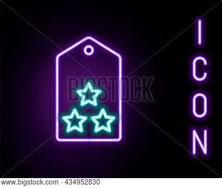 Glowing Neon Line Military Rank Icon Isolated On Black Background. Military Badge Sign. Colorful Out
