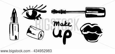 Set With Full Lips In The Form Of A Kiss With Black Lipstick And Stylized Eye, Mascara. Make Up Lett