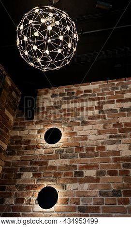 Luminous Stylish Pendant Lamp In The Loft Interior