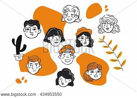 Diverse Faces Of People Set. Collection Of Simple Icons For Social Networks. Avatars Of People Of Di
