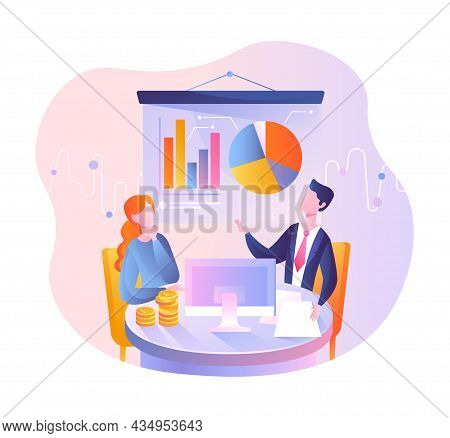 Financial Analyst Or Consultant. Man And Woman Sitting At Table And Discussing Statistics. Employees
