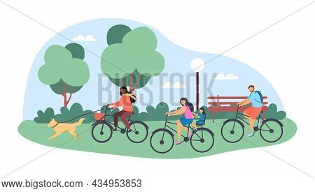 Cute Happy Family Cycling Together In The City Park With A Dog On White Background. Concept Of Activ