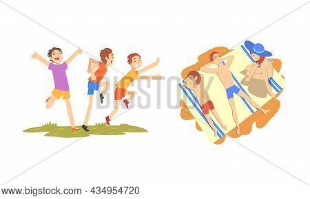 People Character Enjoying Summer Running On Green Lawn And Sunbathing Vector Set