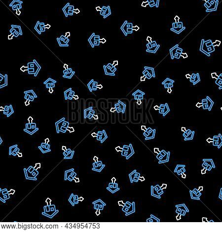 Line Property And Housing Market Collapse Icon Isolated Seamless Pattern On Black Background. Fallin