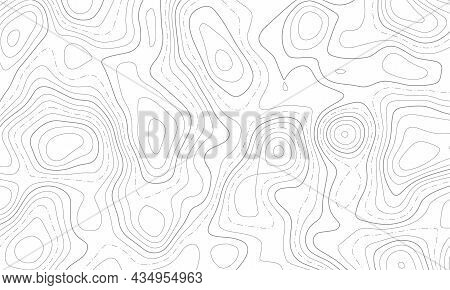 Topographic Line Map Patterns. Black Contour And Texture Geographic Cartography Terrain Isolated On