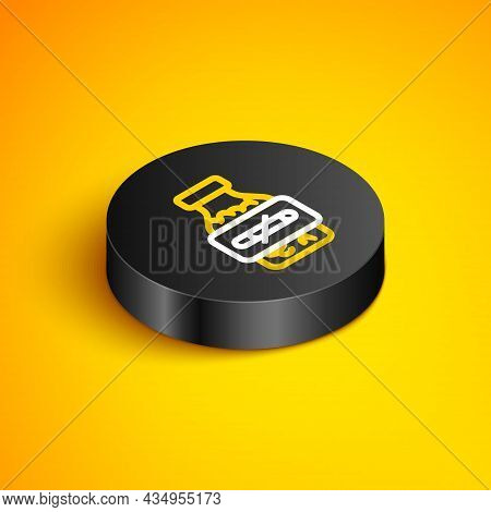 Isometric Line Nicotine Gum In Blister Pack Icon Isolated On Yellow Background. Helps Calm Cravings