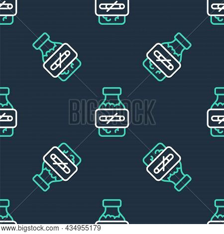 Line Nicotine Gum In Blister Pack Icon Isolated Seamless Pattern On Black Background. Helps Calm Cra