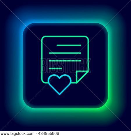 Glowing Neon Line Envelope With Valentine Heart Icon Isolated On Black Background. Message Love. Let