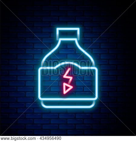 Glowing Neon Line Sports Nutrition Bodybuilding Proteine Power Drink And Food Icon Isolated On Brick