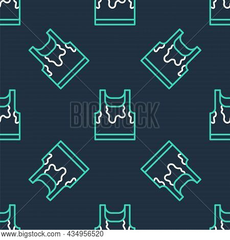 Line Sweaty Sleeveless Sport T-shirt Icon Isolated Seamless Pattern On Black Background. Vector