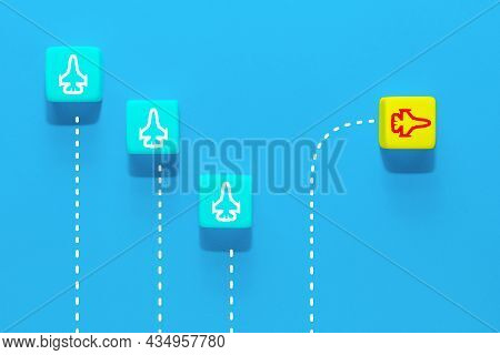 New Ideas Creativity And Different Innovative Solution. A Group Of Wooden Cubes With Airplane Icons,