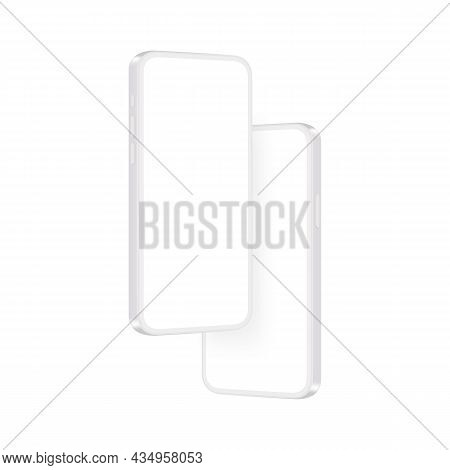 Modern Clay Phones Mockups, Isolated On White Background, Side View. Vector Illustration