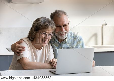 Happy Bonding Mature Couple Using Computer At Home.