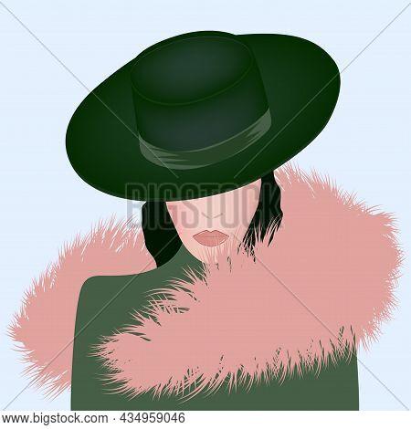Elegant Woman In Hat, Faux Fur Collar - Art, Vector. Headdress. Sale. Winter Clothes
