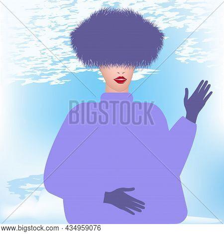 Winter Landscape. Elegant Woman In A Lilac Faux Fur Hat - Art, Vector. Headdress. Sale. Winter Cloth