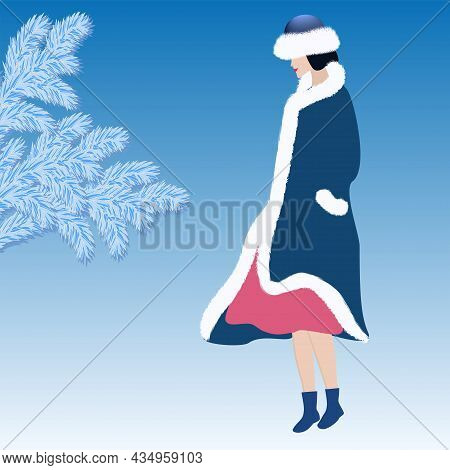 Winter Landscape. Elegant Woman In Coat And Hat Trimmed With White Faux Fur - Art, Vector. Headdress