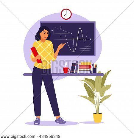 Teaching Concept. Woman Teacher Near Blackboard. Vector Illustration. Flat