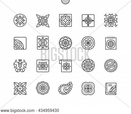 Ancient Geometric. Floral Pattern And Ornament. Mosaic And Mandala. Pixel Perfect Vector Thin Line I
