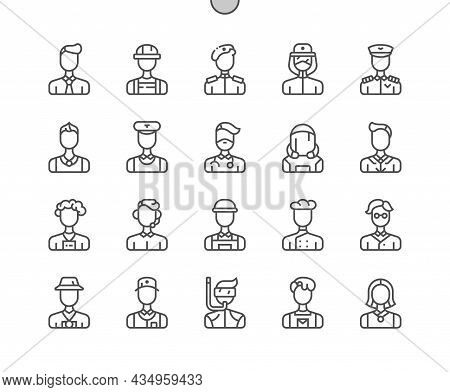 Careers Men. Male Professional. Man Job Worker. Pixel Perfect Vector Thin Line Icons. Simple Minimal