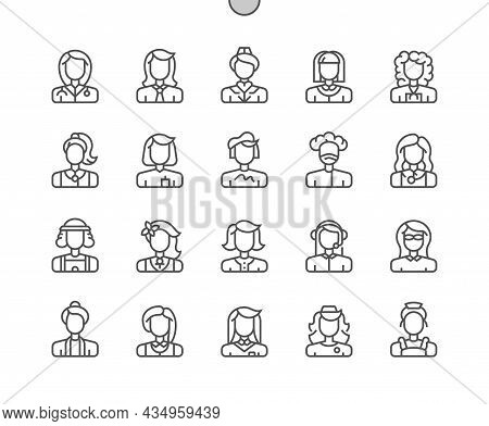 Careers Women. Female Professional. Woman Job Worker. Pixel Perfect Vector Thin Line Icons. Simple M