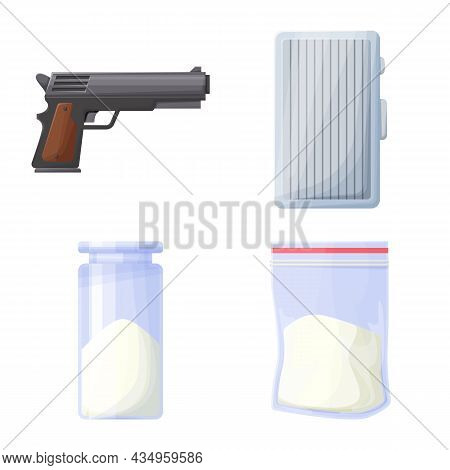 Vector Design Of Drug And Abuse Icon. Set Of Drug And Poison Stock Symbol For Web.