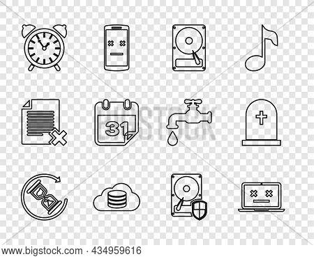 Set Line Waiting, Dead Laptop, Hard Disk Drive Hdd, Cloud Database, Alarm Clock, Calendar, Protectio