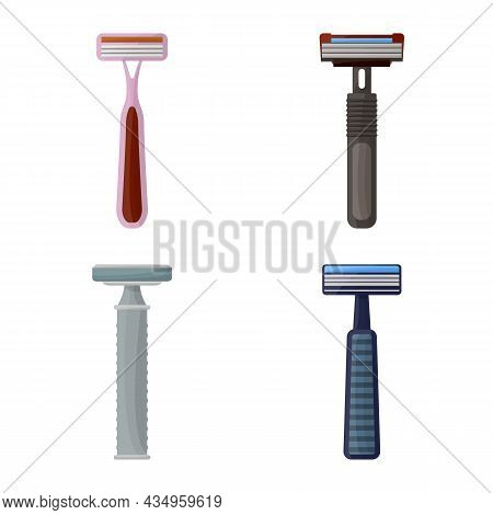 Vector Design Of Razor And Hair Sign. Collection Of Razor And Shaving Stock Vector Illustration.