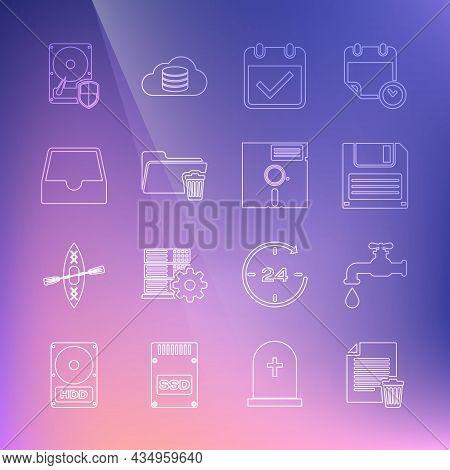 Set Line Delete File Document, Water Tap, Floppy Disk, Calendar With Check Mark, Folder, Social Medi