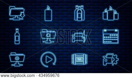 Set Line Car Service, Calendar, Bottles Of Wine, Ftp Sync Refresh, Folder Download, Electric Car And